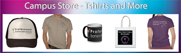 Bartender tshirts, mugs and more in our online campus store